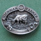 Vintage Michigan Farmer American Farm Heritage 1987 pewter belt buckle