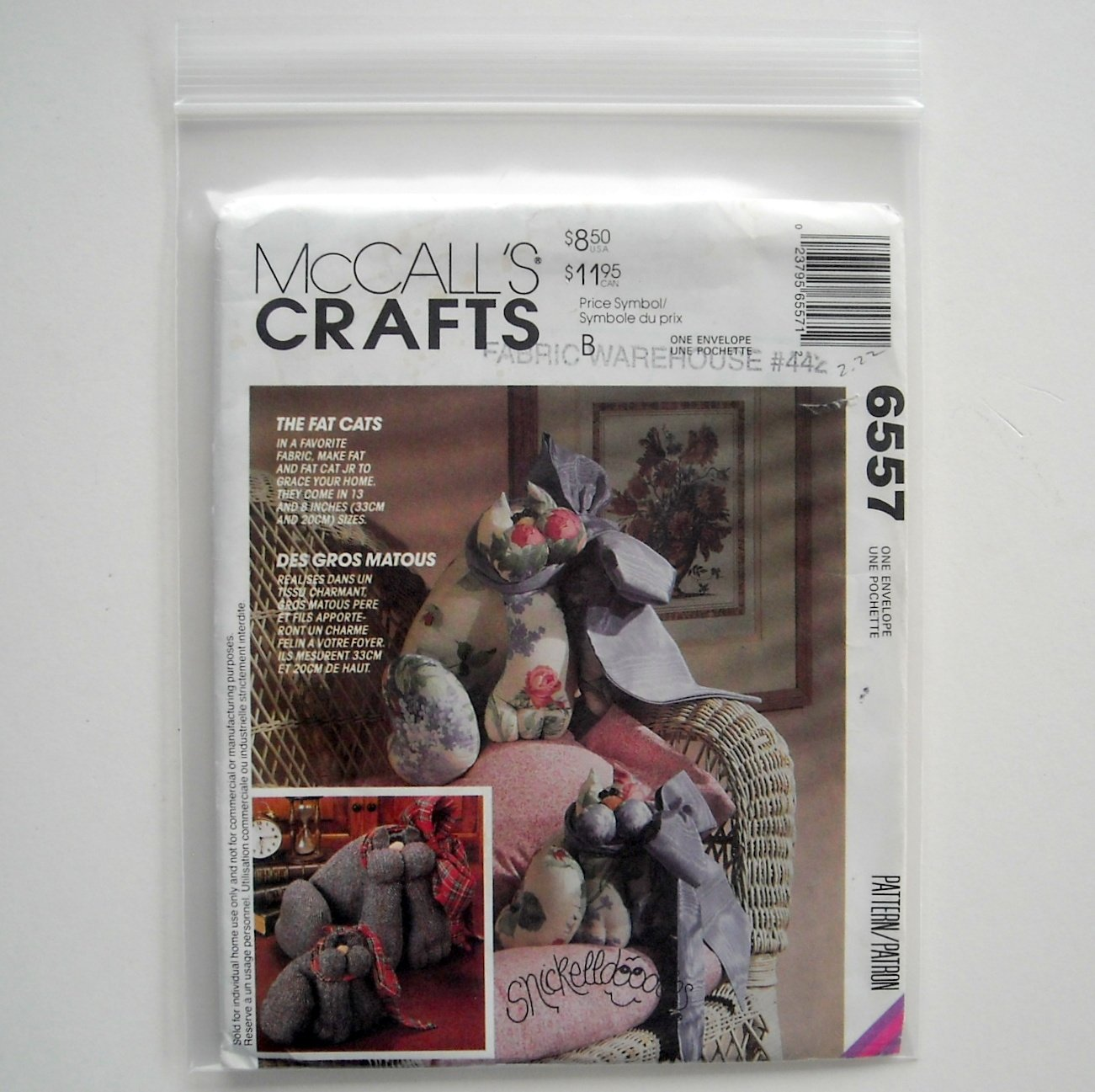 The Fat Cats 1993 Vintage McCalls Crafts Sewing Pattern 6557