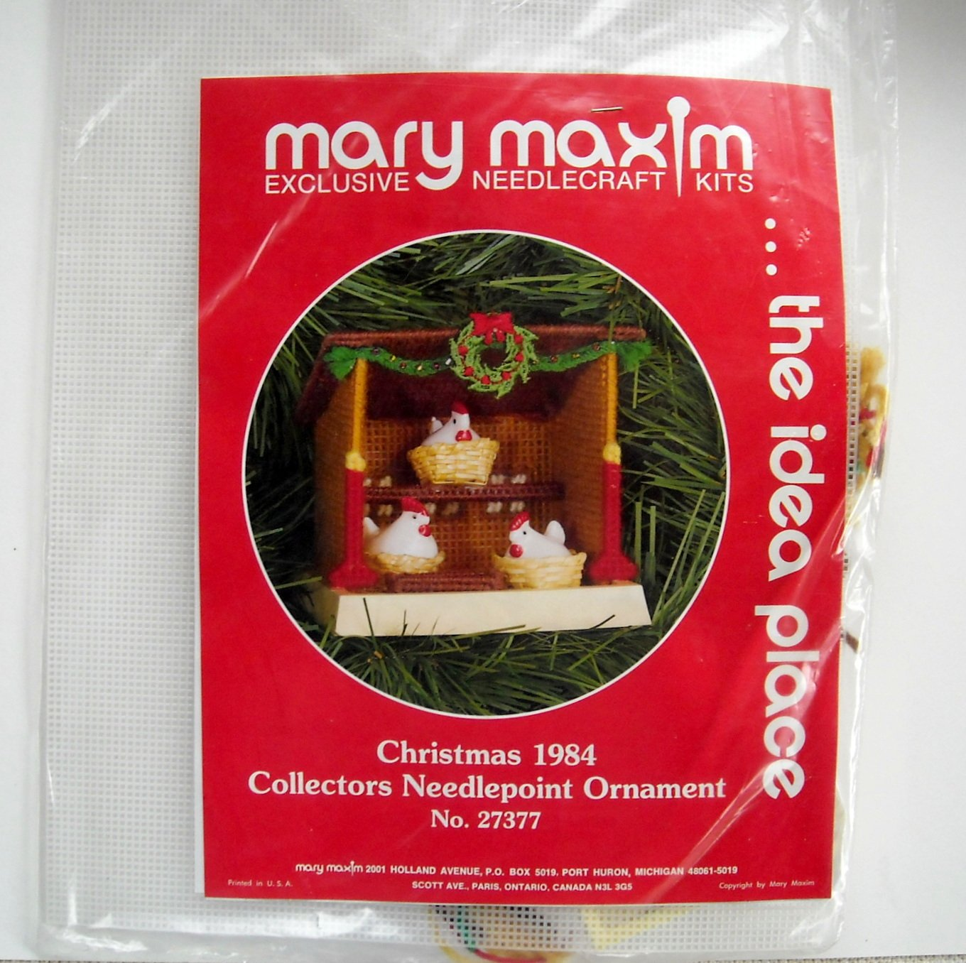 Mary Maxim Christmas 1984 Collectors Needlepoint Ornament Kit No 27377