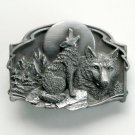 Vintage Howling Male Wolf Mens 1989 Pewter belt buckle