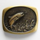 Vintage Steven L Knight Trout Salmon Solid Bronze metal alloy belt buckle
