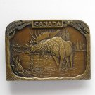 Vintage Canada Moose mens heavy Brass metal alloy belt buckle