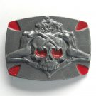 Nasty Girls Skull Pewter Red metal alloy belt buckle