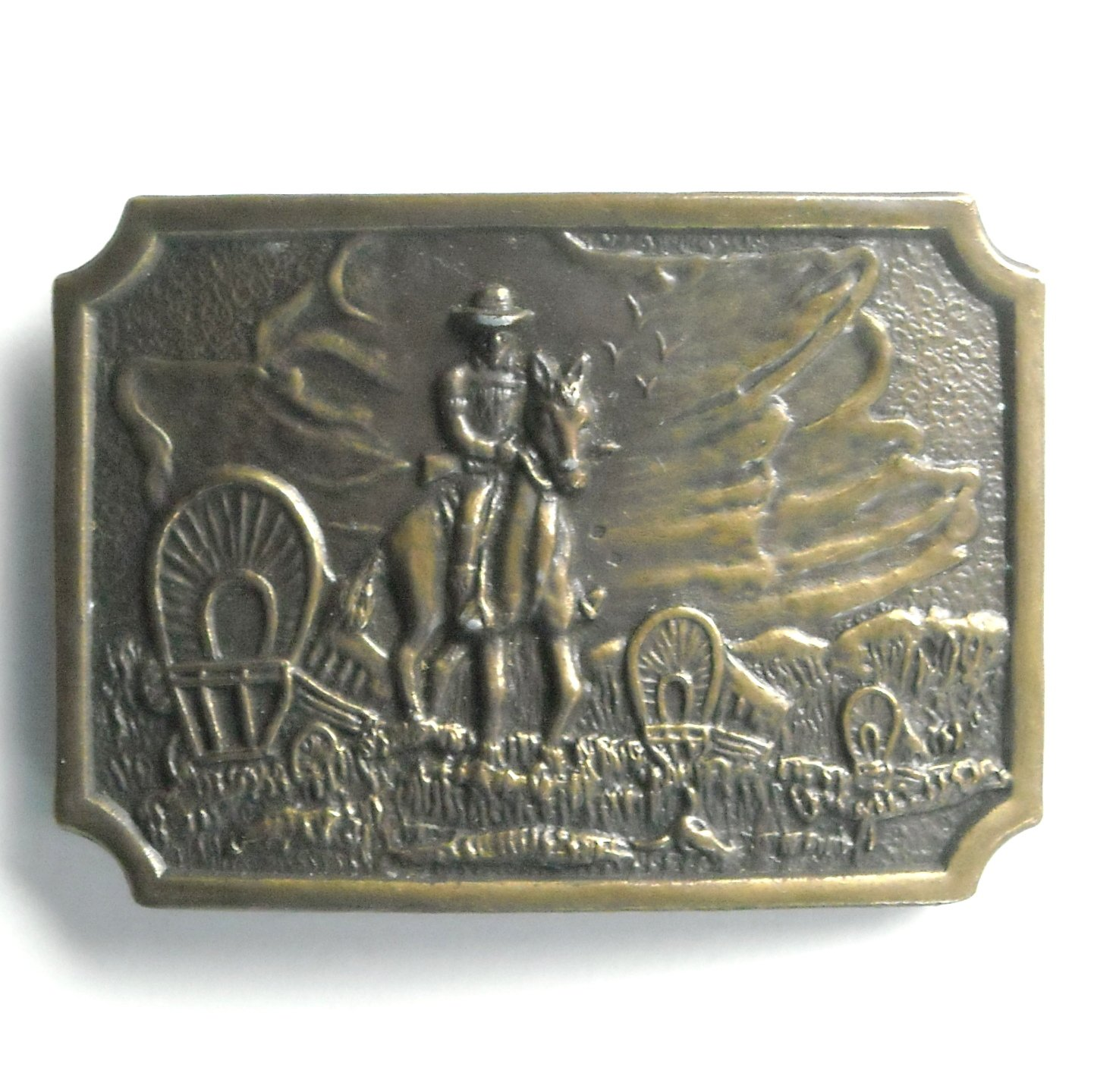 Vintage Cowboy Trail Boss Bronze color metal alloy belt buckle