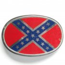 Vintage Confederate Flag Silver color metal alloy belt buckle