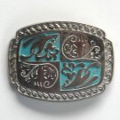 Vintage Ornate Silver color metal alloy Standard Small Belt Buckle