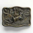 Vintage Running Deer Brass Color Metal Belt Buckle