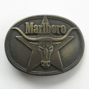 Vintage Marlboro 1987 Solid Brass color metal alloy belt buckle