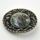 Vintage Abalone Brass color metal alloy belt buckle