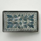 Diamond Cut Paisley Pattern Silver Color Belt Buckle
