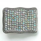 Rhinestone Chrome Metal Vintage Belt Buckle