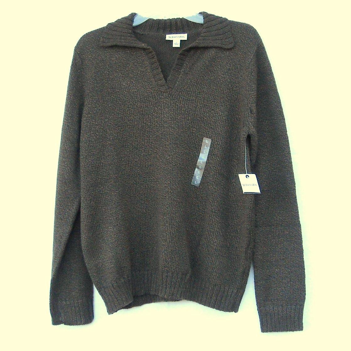 st johns bay mens collar mock v neck sweater size l nwt