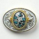 Vintage Faux Turquoise Silver Metal Alloy belt buckle