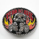 Biker Fear No Evil Silver color metal alloy belt buckle