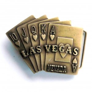 Vintage Las Vegas Full House Hearts Brass metal alloy belt buckle