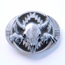 Running Buffalo Skull Siskiyou Pewter alloy belt buckle