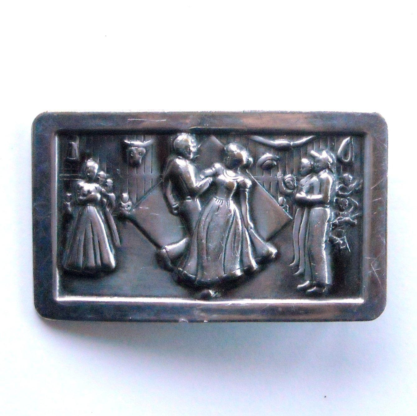 Vintage Square Dance Solid Brass Silver color belt buckle