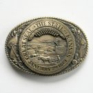 Tony Lama The Great Seal Of The State Of Kansas Brass belt buckle