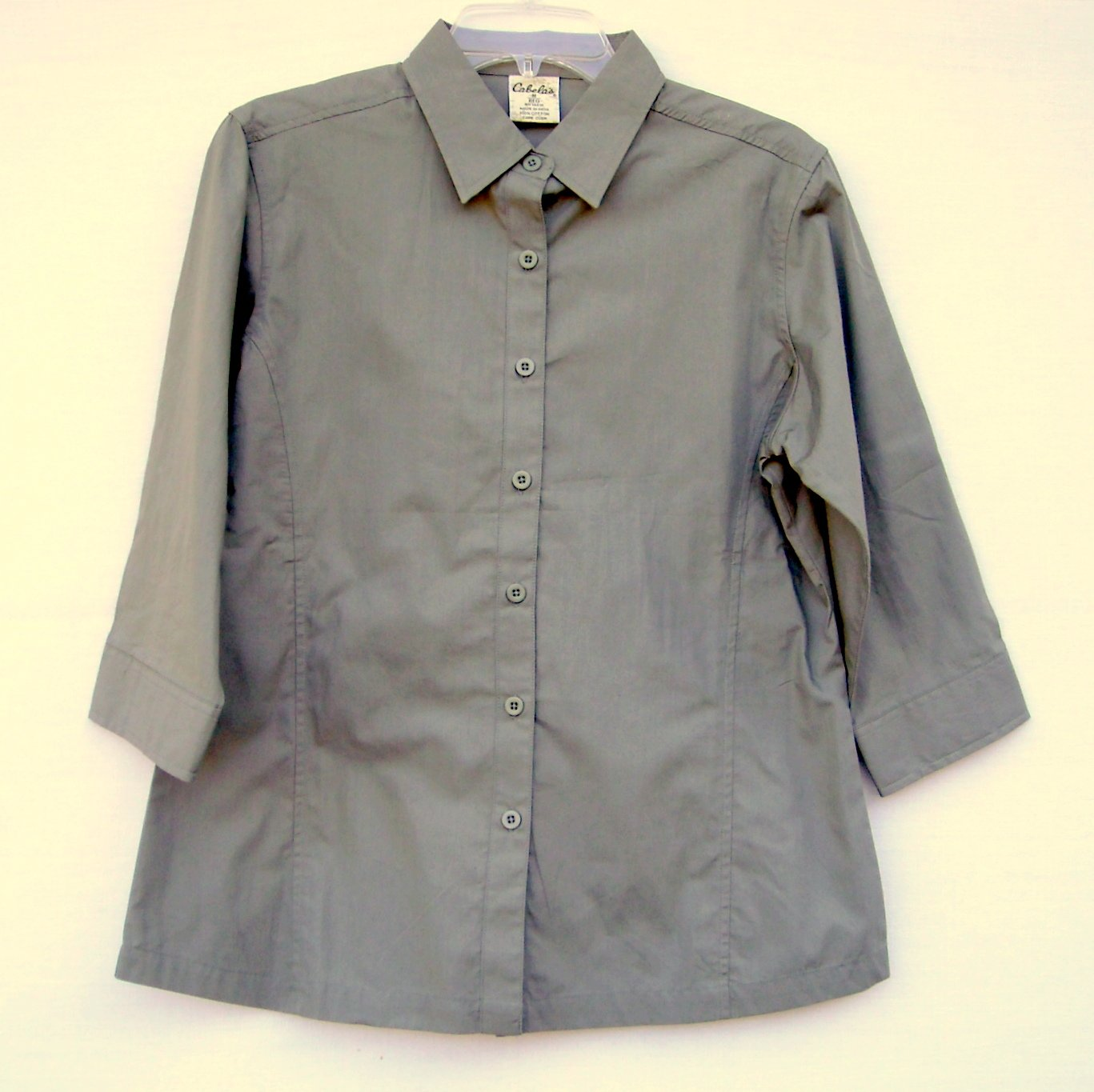 Cabelas Womens Sage Green 3/4 Sleeve Shirt Size M