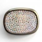 Vintage Oval Rhinestone Bronze Color Metal Alloy belt buckle