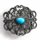 Vintage Turquoise Cut Out Pewter Color Metal Alloy belt buckle