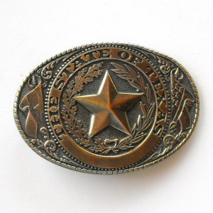 State Of Texas Star Great American Brass Alloy belt buckle