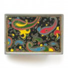 1970s Unique Psycho Multi Color Swirl Metal Alloy Vintage Belt Buckle