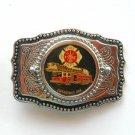 1970s Unique Emergency One Fire Dept Silver Color Metal Alloy Vintage Belt Buckle