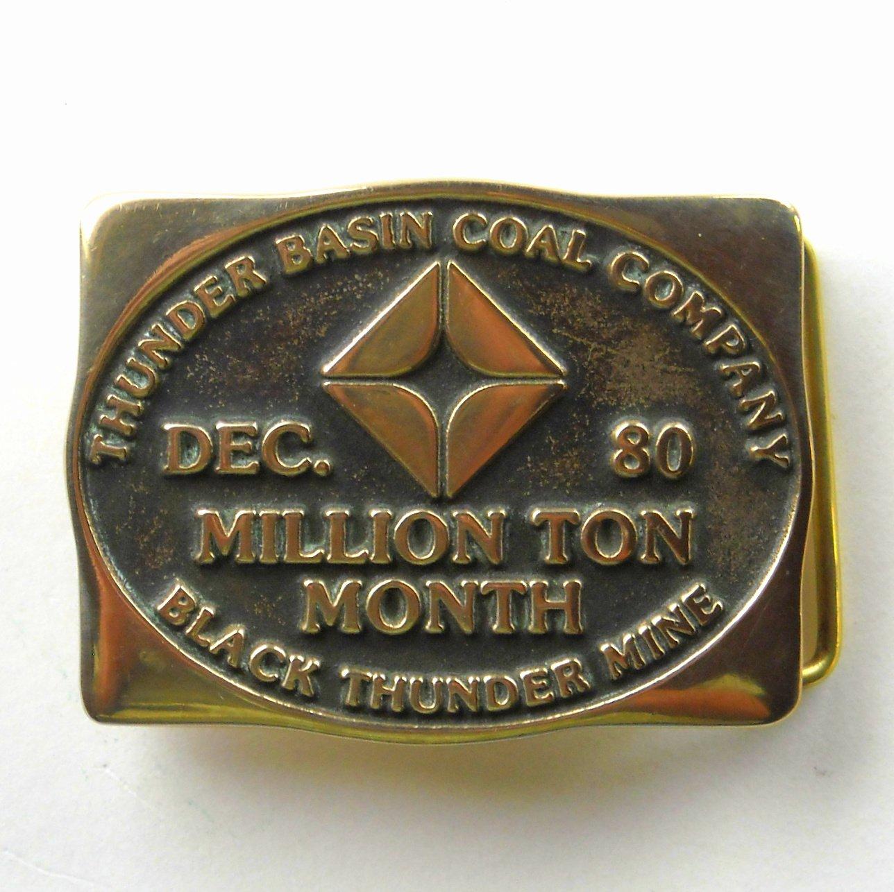 Black Thunder Basin Coal Mine Anacortes Solid Brass Vintage belt buckle