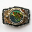 Bass Largemouth Brass Color metal alloy Made In USA Vintage belt buckle