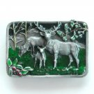Elk Family Wapiti Pewter metal alloy Siskiyou belt buckle