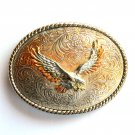 Western Bald Eagle 3D Vintage Gold Silver color Unisex belt buckle