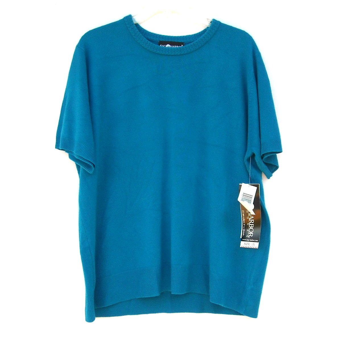 Sag Harbor Womens Blue Short Sleeve Knit Top Size 1X