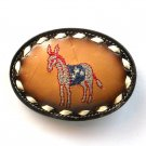 Democratic Party Donkey Embroidered Tony Lama Leather Used Belt Buckle