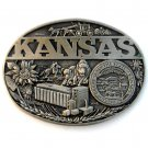 State Of Kansas Award Design Solid Brass belt buckle