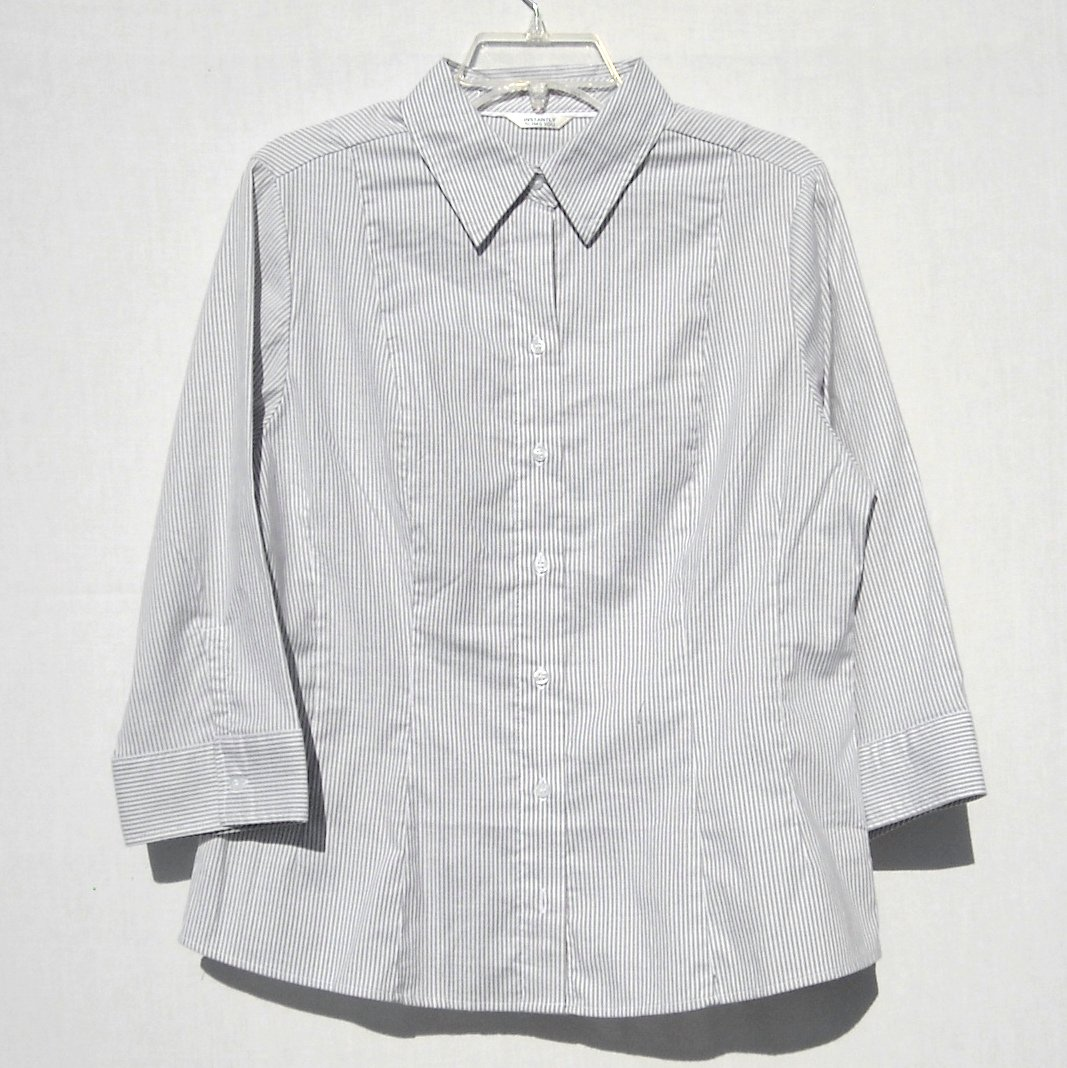 Lee Riders Misses Instantly Slims You Gray Stripes Blouse Shirt Size L