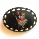 Square Dance Couple Embroidered Tony Lama Black Leather Used belt buckle