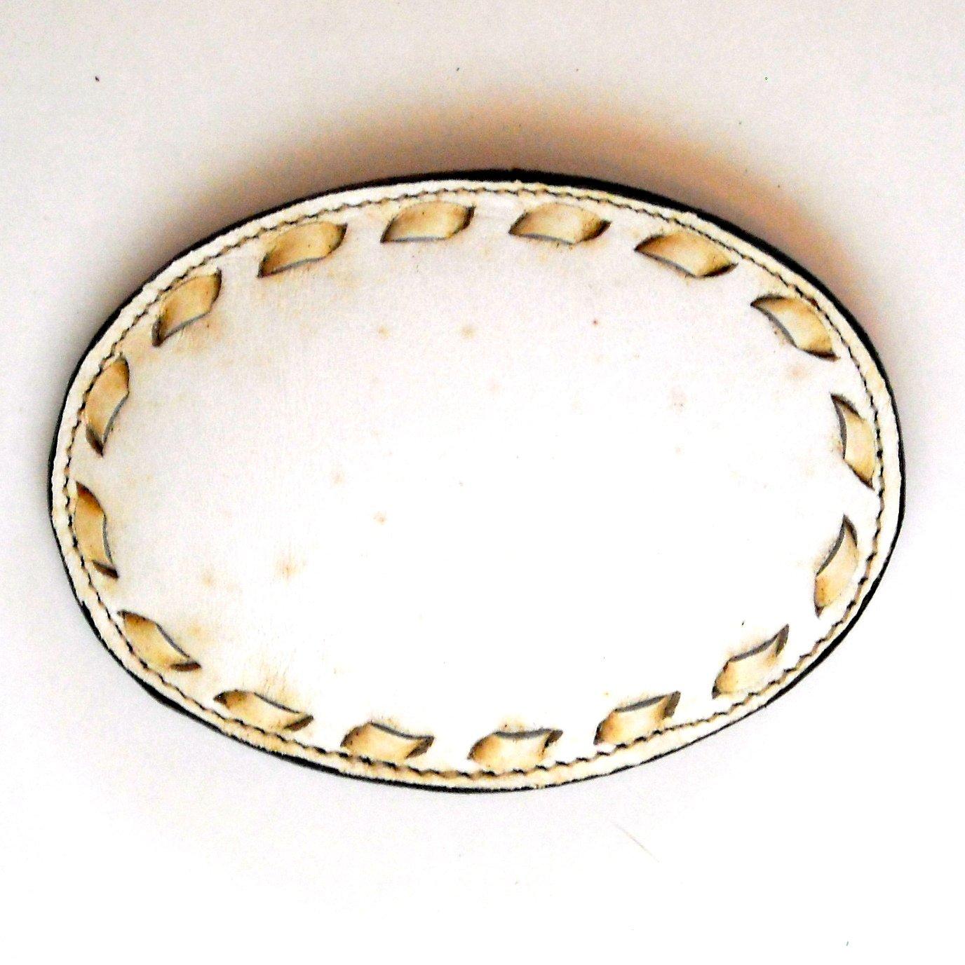 Vintage White Tony Lama Laced Leather Used Belt Buckle