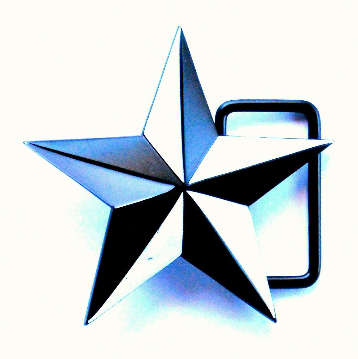Nautical Star 3D Black White Metal Belt Buckle
