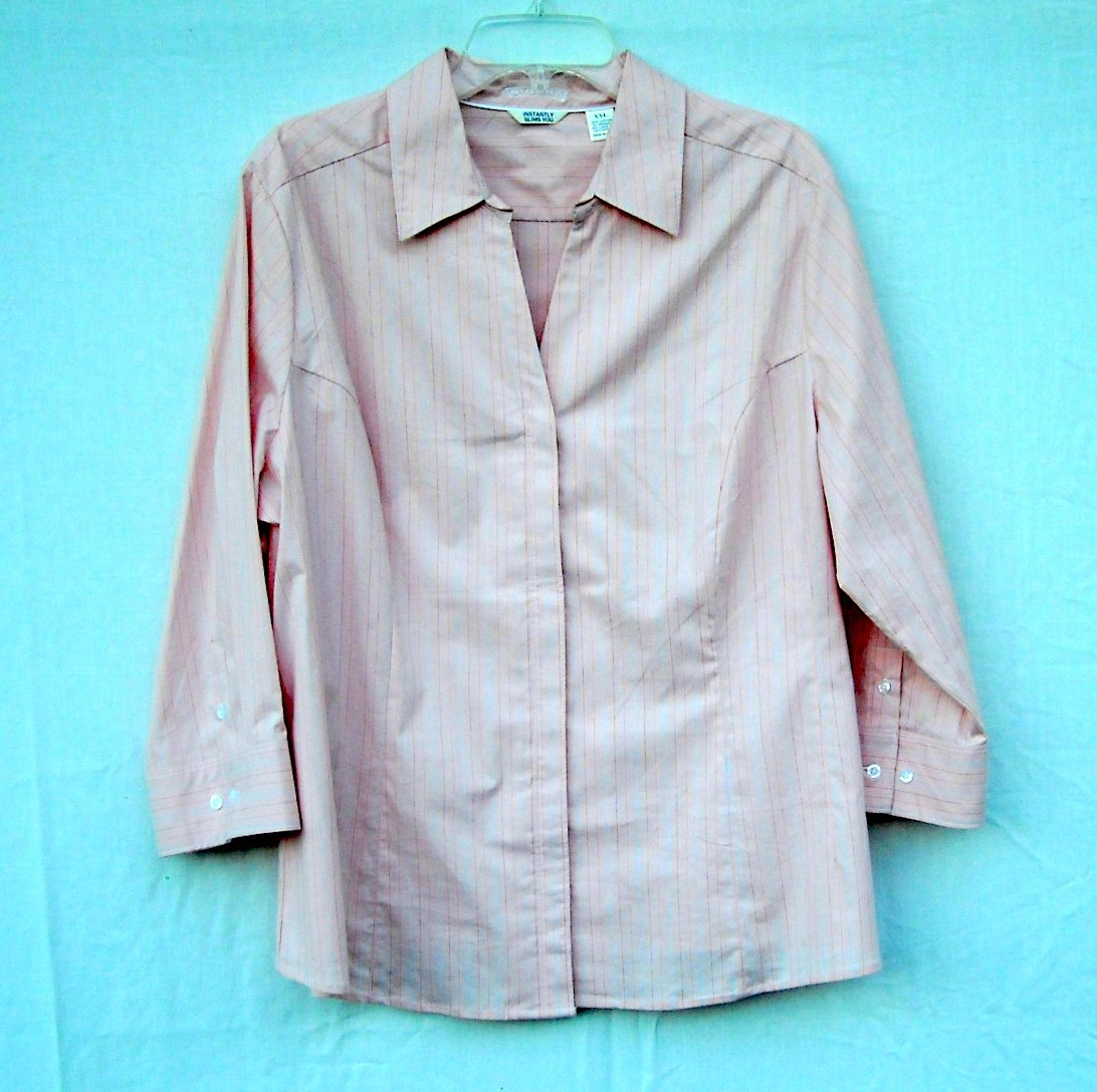 Riders Instantly Slims You Pink Striped Blouse Shirt Size XXL