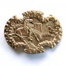Western End Of The Trail Award Design Solid Brass Belt Buckle