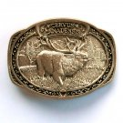 Elk Wapiti Cervus Canadensis Award Design Solid brass belt buckle