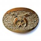 Vintage Shriner Crescent Moon Solid Brass Award Design used belt buckle