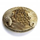 Make a Statement God Guts Guns Vintage Award Design solid brass belt buckle