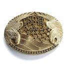 United States Of America Vintage Award Design Solid Brass Belt Buckle