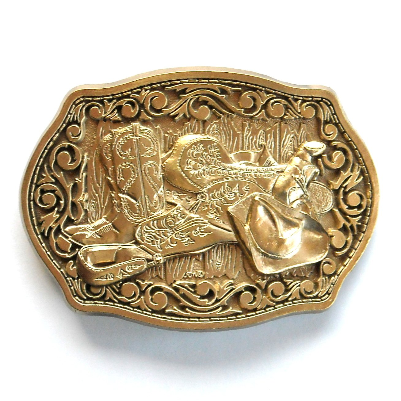 Cowboy Boots Hat Saddle ADM Solid Brass Belt Buckle