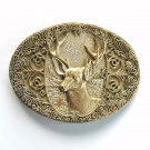 Trophy Elk Award Design Solid Brass Oval belt buckle