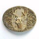 Trophy Elk Award Design Solid Brass Oval Belt Buckle