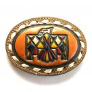 Tony Lama Tooled Phoenix Bird Brown Leather belt buckle