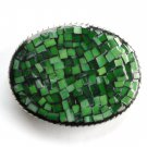 Handmade Artisan One Of A Kind Green Mosaic belt buckle